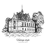 Vintage vector sketch tile old european house, mansion, Historical building sketchy line art isolated, touristic Stock Photo