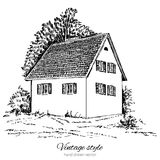 Vintage vector sketch tile old european house, mansion, Historical building sketchy line art isolated, touristic Royalty Free Stock Photography