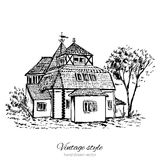 Vintage vector sketch tile old european house, mansion, Historical building sketchy line art isolated, touristic. Postcard, poster, calendar template, page idea Royalty Free Stock Photo