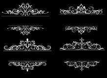 Vintage vector swirl frame set. On black Royalty Free Stock Photo