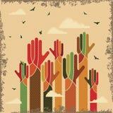 Vintage vector of teamwork with hands. Vintage vector of teamwork, with hands Royalty Free Stock Photo