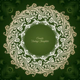 Vintage vector template with ornamental decorative round frame. On green pattern background Stock Images