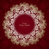 Vintage vector template with ornamental decorative round frame. On red pattern background Stock Photos