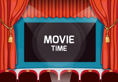 Vintage vector theater stage with red curtains and Royalty Free Stock Photography