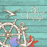 Travel background with hand wheel and anchor Stock Photos