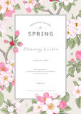 Vintage vector vertical card spring. Royalty Free Stock Photography