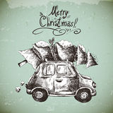 Vintage vector winter greeting card with retro Stock Photos
