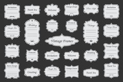Vintage vectors frames on background. Vector Set of vintage frames on dark background Stock Image