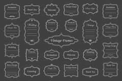 Vintage vectors frames on background. Vector Set of vintage  frames on dark background Royalty Free Stock Photos