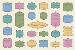 Vintage vectors frames on background. Vector Set of vintage frames on retro background Royalty Free Stock Images