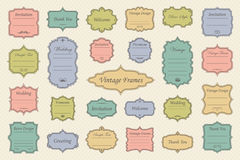 Vintage vectors frames on background. Vector Set of vintage frames on retro background Stock Photo