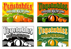 Vintage vegetable crate label. With 4 different color designs stock illustration