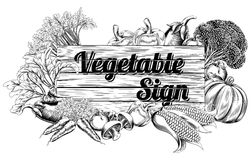 Vintage vegetable produce sign Stock Image