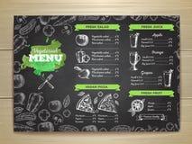 Vintage vegetarian food menu design. Royalty Free Stock Photos