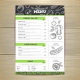 Vintage vegetarian food menu design. Stock Image