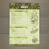 Vintage vegetarian food menu design. Royalty Free Stock Images