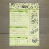 Vintage vegetarian food menu design. Stock Photo