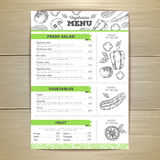 Vintage vegetarian food menu design. Stock Photography