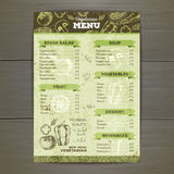 Vintage vegetarian food menu design. Stock Photos