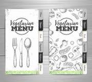 Vintage vegetarian menu design. Document template Royalty Free Stock Photos