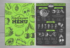 Vintage vegetarian menu design. Fresh fruit sketch Stock Photography