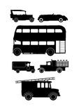 Vintage vehicle silhouettes Stock Image