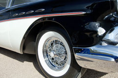 Vintage Vehilce in Black. Details of a vintage Buick Roadmaster on display at a car show Royalty Free Stock Image