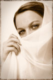 Vintage Veil Face Stock Image