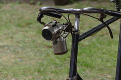 Vintage velocipede acetylene lamp royalty free stock photo