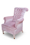 Vintage velvet armchair on white background. Retro quilted velvet armchair on blank background Stock Photos