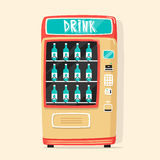 Vintage vending machine with drinks. Retro style. Purchase of water Royalty Free Stock Photography