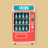 Vintage vending machine with drinks. Retro style. Purchase of water Royalty Free Stock Photos
