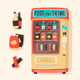 Vintage vending machine with food and drinks. Retro style Royalty Free Stock Images