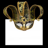 Vintage venetian carnival mask. With blank label Stock Image