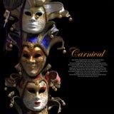 Vintage venetian carnival masks. On black background Royalty Free Stock Images