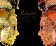 Vintage venetian carnival masks. On black background Royalty Free Stock Photo