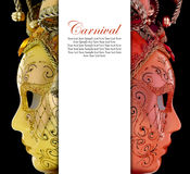 Vintage venetian carnival masks. With blank banner Royalty Free Stock Photography