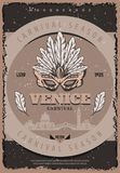 Vintage Venetian Carnival Poster. With inscriptions traditional facial masquerade mask feathers and beautiful Venice cityscape vector illustration Stock Photo