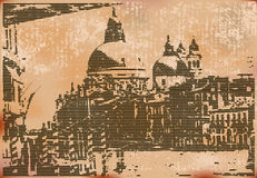 Vintage Venice. Vintage style illustration of Salute and the Grand Canal, Venice, Italy Royalty Free Stock Photos