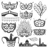 Vintage Venice Carnival Elements Set. With venetian cityscape bridge different masks feathers and garland isolated vector illustration Stock Photography