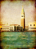 Vintage Venice, S.Marco square from the sea. Venice, S. Marco square on a retro texture with grunge effects. Elaboration from a photo shoot of mine, like an old stock photography