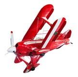 Vintage vermelho e biplano branco isolado no branco imagem de stock royalty free