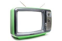 Vintage vert TV sur le fond blanc Photographie stock libre de droits