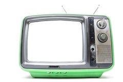 Vintage vert TV sur le fond blanc Images libres de droits