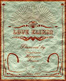 Vintage vertical banner with love elixirlabel Stock Images