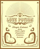 Vintage vertical banner with love potion label Stock Photography