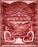 Vintage vertical banner with love wine label Stock Images