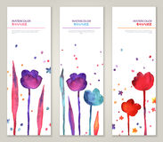 Vintage vertical banners set with watercolor Stock Photo
