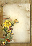 Vintage vertical card with autumn bouquet and sunflower stock photography