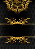 Vintage vertical frame with golden ornate decor with strip  and Stock Image